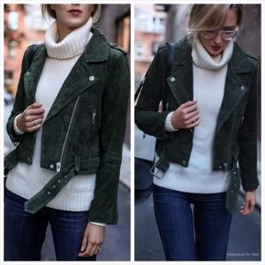 Blank NYC Morning Suede Hunter Green Moto Jacket